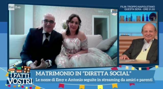 """Il Matrimonio social di Antonio ed Emy a """"I Fatti Vostri"""""""